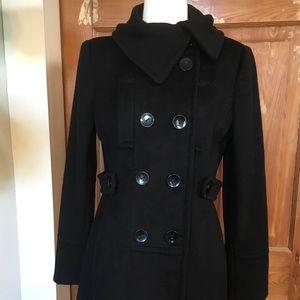 Tahari black wool peacoat 6
